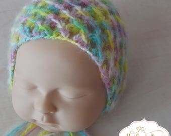 Rainbow alpaca newborn bonnet-newborn hat-photography props-newborn outfits-photo props-newborn baby hats-bright newbirn props
