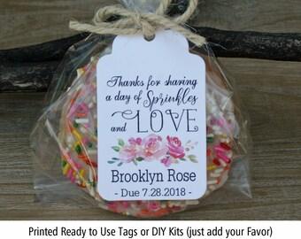 Donut Baby Shower Favor Girl | Sprinkles Baby Shower Favor | Baby Shower Favors for girl | Tags only OR DIY Bags/Tags/tie, Roses