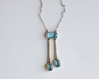 1910s art deco sterling and aqua glass necklace / antique teens silver and blue glass stone dangling pendant necklace / faux aquamarine