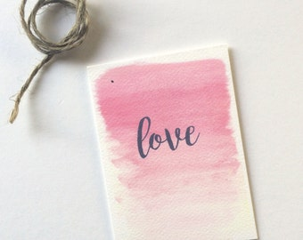 Pink Ombre love Wine Tag & Gift Cards