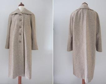 60s Oatmeal Wool Swing Coat by Youthcraft, M-L // Vintage Mid Length Winter Coat