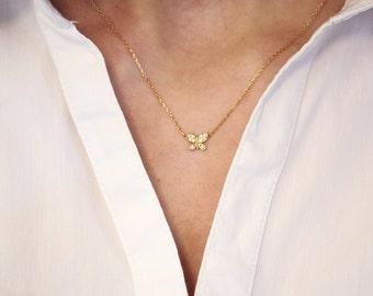 Tiny Diamond Butterfly Necklace Rose Gold Butterfly Necklace 18K Solid Gold Pendant Rose Gold Diamond Butterfly Pendant Bloom Jewellery