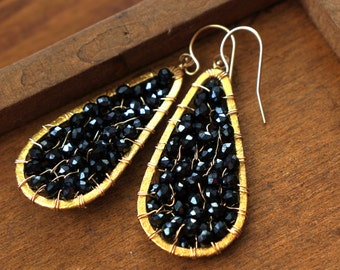 b l a c k   d i a m o n d   14K vermeil and faceted black spinel earrings