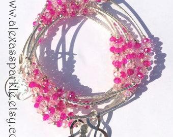 Pink and Clear and beaded bracelets with silver plated charms - Semanario pulseras de cristal rosita y claro con dijes de chapa de plata