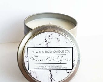 4 oz Natural Soy Candle Grass Scented | 4 oz Tin Candle | Fresh Cut Grass | Grass Scented Candle | Candles | Scented Soy Candle | Gift Idea