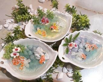 Miniature Koi Pond (Serene Styles with Flowers)