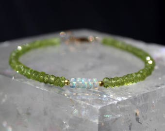 Peridot Bracelet, August Birthstone, Opal Bracelet, Ethiopian Opal Bracelet, October Birthstone, Dainty Beaded Gemstone Bracelet