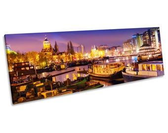 Amsterdam Night Skyline Print CANVAS WALL ART Panoramic