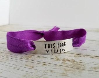 Breastfeeding bracelet, This Boob Next, Nursing Mom bracelet, Elastic Nursing bracelet, stretch bracelet, nursing reminder bracelet,