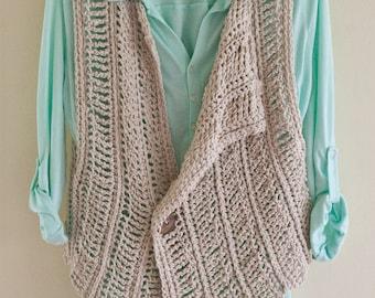 Crochet Pattern - Vest Pattern Light Spring Vest Pattern Summer Cover Up DIY Fall Pattern Easy Crochet Vest Pattern - Spring Breeze P186