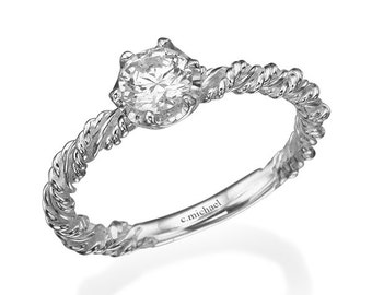 Unique Engagement Ring, Engagement Ring, 14k white Gold Ring, White Diamond Ring, Diamond Engagement Ring, Twig Engagement, Solitaire Ring