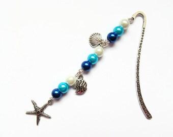 Starfish bookmark, ocean bookmark, sea life bookmark, beaded bookmark, gift for her, birthday gift, Unique bookmark, metal bookmark