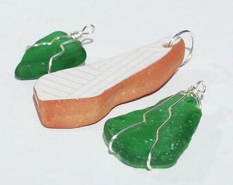 Mer verre pendentifs - mexicaine poterie & pendentifs de verre de plage, bijoux de verre de mer vert, enveloppé de fil argent pendentifs de verre de mer, bijoux de l'océan