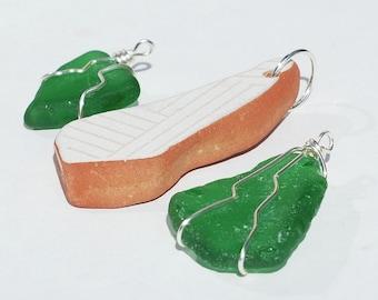 Sea Glass Pendants- Mexican pottery & beach glass pendants, green sea glass jewelry, silver wire wrapped sea glass pendants, ocean jewelry