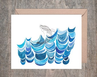 Ocean Waves Whale Note Card Set Watercolor (Set of 10 cards)