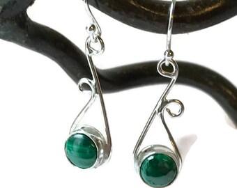 Malachite Asymmetrical Drop Earrings