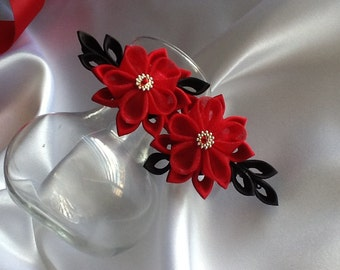 Hair Clip  - Red and Black Kanzashi Flowers Wedding Flowers Bridal Headpieces Hair Accessories
