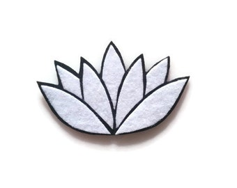Lotus Flower Iron On Patch - No Sew - Felt - You Pick the 2 Colors