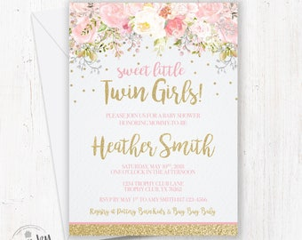 Twin baby shower invitation etsy twins baby shower invitations twin girl baby shower floral twin invitations pink and gold twins baby filmwisefo Choice Image