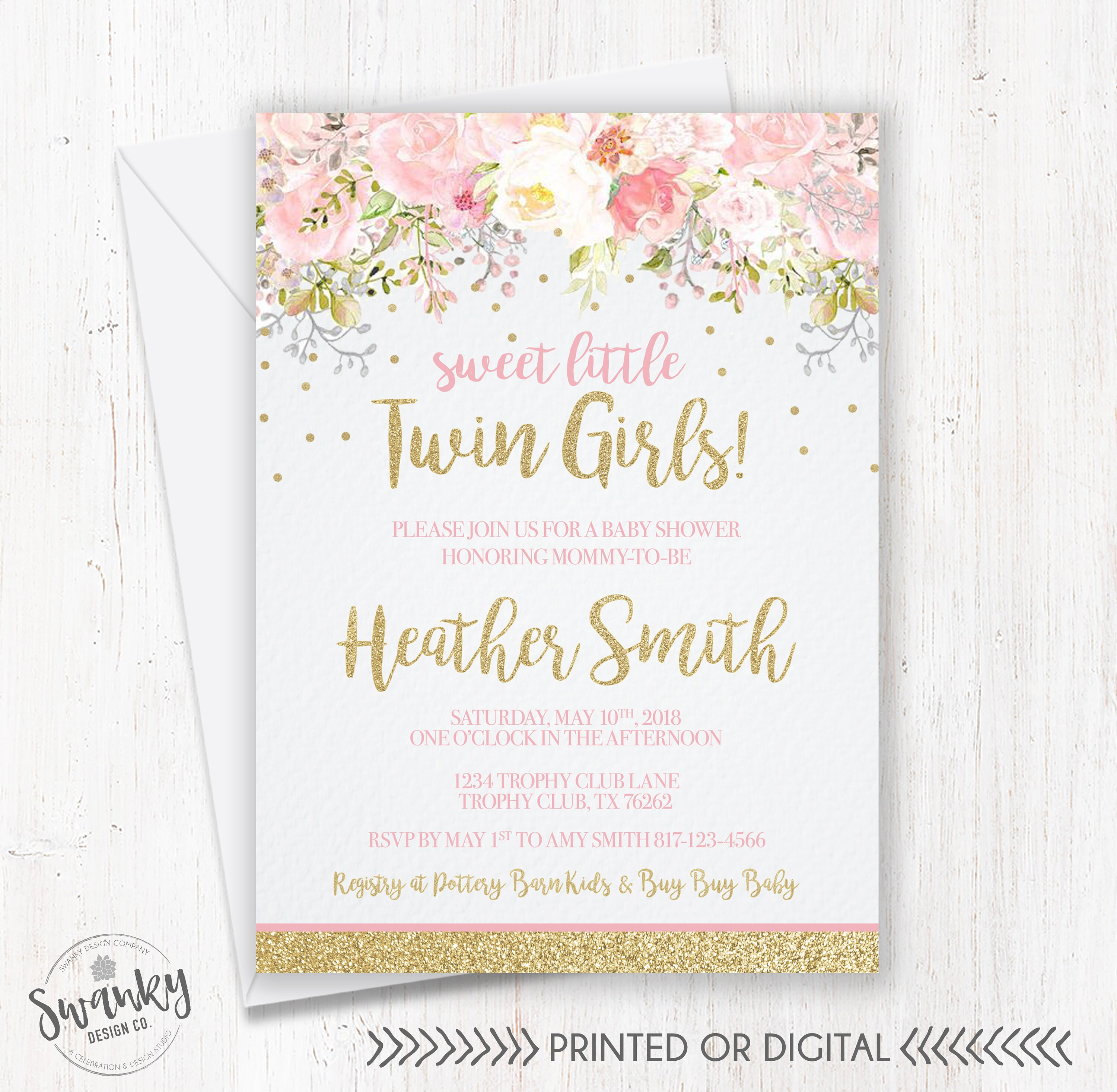 Twins Baby Shower Invitations Twin Girl Baby Shower Floral