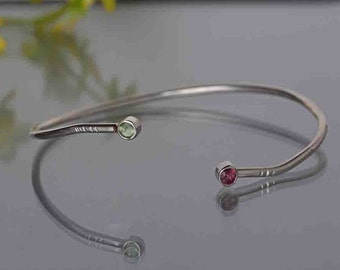 Silver Bangle Bracelet with Tourmaline, Multi Color Tourmaline Bracelet, Recycled Silver Bangle Bracelet, October Birthstone Bracelet