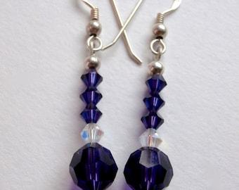 Purple Dangle Earrings - Upcycled - Drop Earrings - Crystal Beads