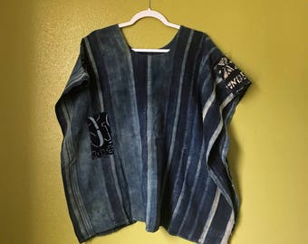 Vintage Indigo Poncho West Africa Mali Hand Woven and Stitched Resist Dye Patches