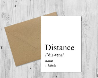 Long distance relationship, Definition Card, Boyfriend Card, Boyfriend Gift, Birthday Card, Anniversary Card, Valentines Card, LDR Card