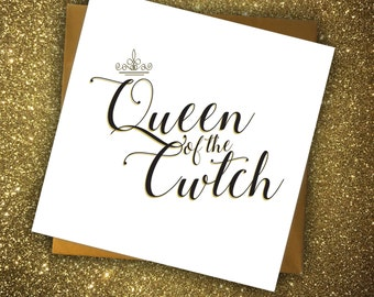 Mother's Day Wales Card For Mum Birthday Queen of the Cwtch Hugs Cozy Typography Crown Black and Gold Welsh
