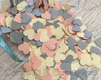 Heart Confetti, Heart Die Cuts, Pink Cream Gray Hearts, Table Sprinkle, Baby Shower Decor, Paper Confetti Hearts,  Wedding Shower Confetti,