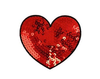 Red Heart Iron On Applique, Sequin Patch, Love Patch, Heart Iron On Patch, Love Applique, Heart Applique, Fun Patch, Embroidered Patch