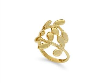 14k solid gold leaf ring. fancy ring, floral ring.