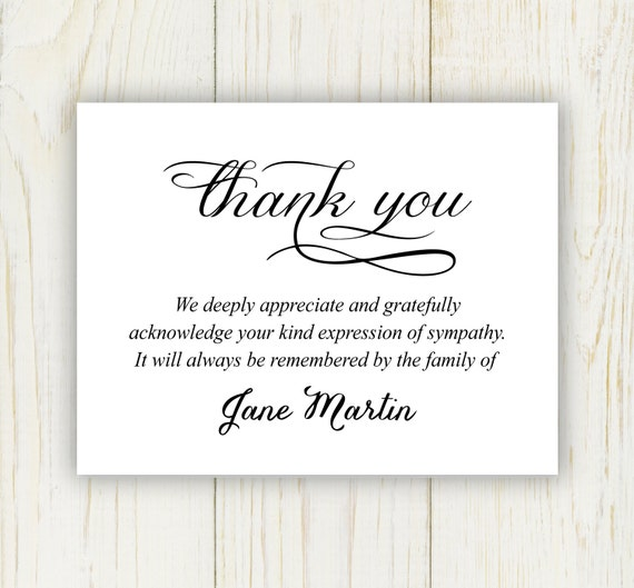 Funeral Thank You Card Digital file sympathy thank you