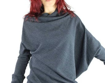 Mouse sweater grey asymmetrical, unstructured, pleated, wool knit