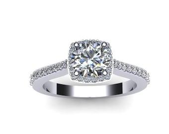 Diamond Halo Engagement Ring Forever One Moissanite Engagement Ring 14K White Gold Engagement Ring Round Diamond Alternative Center - V1082