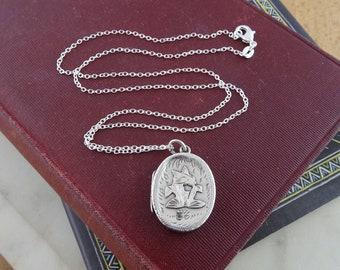 Pretty Vintage Sterling Silver Locket with Chain, Oval Bird Locket, Ornate Decorated Locket Necklace, Silver Hallmarked