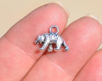 10  Bear Silver Tone 3D Charms SC1556