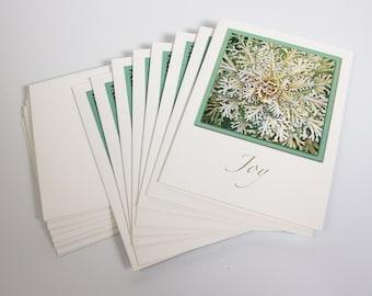 Botanical Illustration Greeting Cards Set - White Flowering Kale with Joy