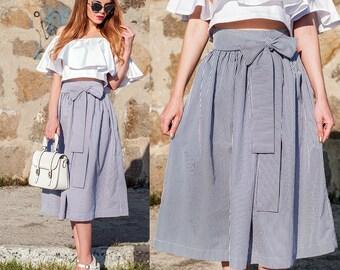 SALE White and Blue Striped Skirt / High Waist Midi Skirt / Midi Skirt / Skirt With Belt / Midi Women's Skirts / Summer Skirt / Cotton Skirt