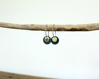 Earrings / hoops pastilles teal and gold leather