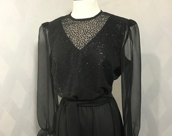 Vintage 80s or 90s Black Beaded Boston Maid Dress with Sheer Long Sleeves