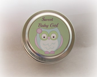 Baby Girl Owl Themed Soy Candle Favor, Baby Shower Favor, Sweet Baby Girl, Custom, 2 ounce Metal Tin
