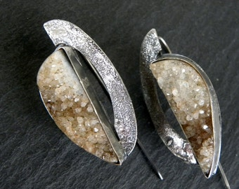 SALE!!! Druzy Agate Raw Sterling Silver Earrings Rough Organic Heavy Textured Modern Urban Unique OOAK