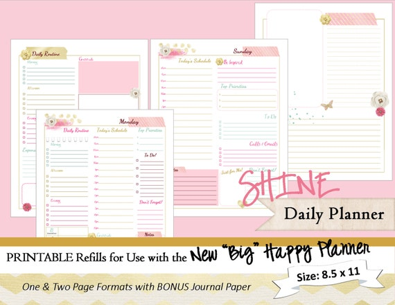 BIG Happy Planner PRINTABLE Daily Calendar Inserts / Refills
