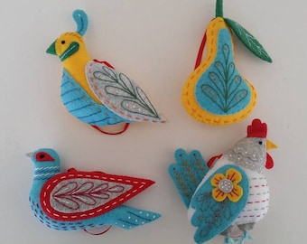12 days of Christamas #1 -#3 Partidge in a pear tree, Turtle dove, French Hen
