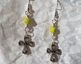 Spring cross earrings