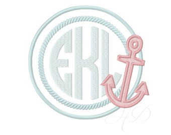 Anchor Circle Applique Frame Embroidery Design BX Instant download 4x4 5x7 6x10 PES