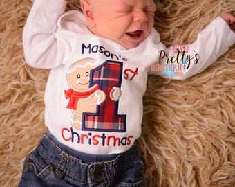 First Christmas Baby Bodysuit or Gingerbread man Shirt Sizes Newborn and Up-- Boys 1st Christmas Bodysuit
