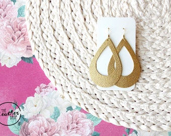Gold Cut Out Leather Drop Earrings, the leather drop, gold jewelry, gold earrings