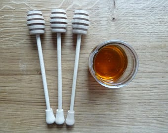 Set of 3pcs Wooden Honey Spoon, Honey Dipper, Wood Honey Dippers,  Unfinished Wood, Wooden shapes, wooden spoons, wooden kitchen accessories